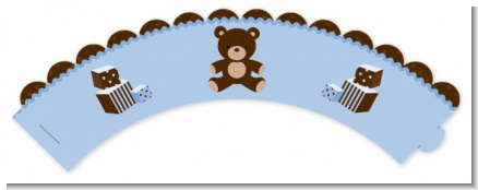 Teddy Bear Blue - Baby Shower Cupcake Wrappers