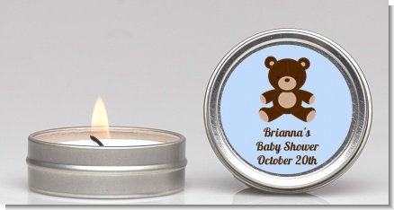 Teddy Bear Blue - Baby Shower Candle Favors