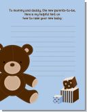 Teddy Bear Blue - Baby Shower Notes of Advice