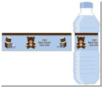 Teddy Bear Blue - Personalized Baby Shower Water Bottle Labels