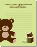 Teddy Bear Neutral - Baby Shower Notes of Advice