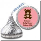 Teddy Bear Pink - Hershey Kiss Baby Shower Sticker Labels