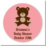 Teddy Bear Pink - Round Personalized Baby Shower Sticker Labels