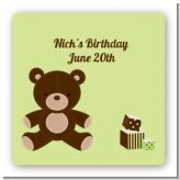 Teddy Bear - Square Personalized Birthday Party Sticker Labels