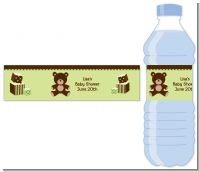 Teddy Bear Neutral - Personalized Baby Shower Water Bottle Labels