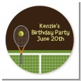 Tennis - Round Personalized Birthday Party Sticker Labels thumbnail