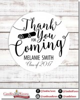 Thank You For Coming - Round Personalized Graduation Party Sticker Labels