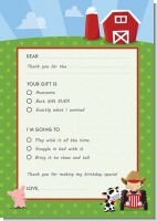 Farm Boy - Birthday Party Fill In Thank You Cards