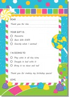 Candy Land - Birthday Party Fill In Thank You Cards