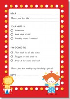 Circus - Birthday Party Fill In Thank You Cards