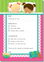 Slumber Party with Friends - Birthday Party Fill In Thank You Cards