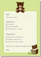 Teddy Bear Neutral - Birthday Party Fill In Thank You Cards