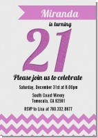 21st Birthday Chevron Pattern - Birthday Party Invitations