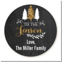 Tis The Season - Round Personalized Christmas Sticker Labels