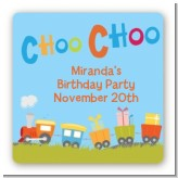 Choo Choo Train - Square Personalized Birthday Party Sticker Labels
