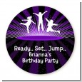 Trampoline - Round Personalized Birthday Party Sticker Labels thumbnail