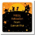 Trick or Treat - Square Personalized Halloween Sticker Labels thumbnail