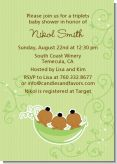 Triplets Three Peas in a Pod African American - Baby Shower Invitations
