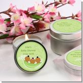 Triplets Three Peas in a Pod African American One Girl Two Boys - Baby Shower Candle Favors
