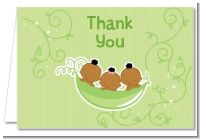 Triplets Three Peas in a Pod African American - Baby Shower Thank You Cards