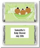 Triplets Three Peas in a Pod African American Two Boys One Girl - Personalized Baby Shower Mini Candy Bar Wrappers