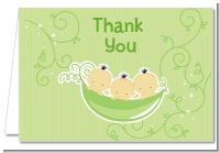 Triplets Three Peas in a Pod Asian - Baby Shower Thank You Cards