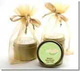 Triplets Three Peas in a Pod Caucasian - Baby Shower Gold Tin Candle Favors