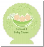 Triplets Three Peas in a Pod Caucasian - Personalized Baby Shower Centerpiece Stand