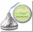 Triplets Three Peas in a Pod Caucasian - Hershey Kiss Baby Shower Sticker Labels thumbnail