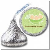 Triplets Three Peas in a Pod Caucasian - Hershey Kiss Baby Shower Sticker Labels