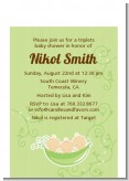Triplets Three Peas in a Pod Caucasian - Baby Shower Petite Invitations