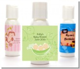 Triplets Three Peas in a Pod Caucasian - Personalized Baby Shower Lotion Favors