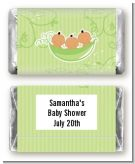 Triplets Three Peas in a Pod Hispanic Two Boys One Girl - Personalized Baby Shower Mini Candy Bar Wrappers