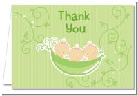Triplets Three Peas in a Pod Caucasian - Baby Shower Thank You Cards