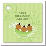 Triplets Three Peas in a Pod African American - Personalized Baby Shower Card Stock Favor Tags