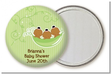 Triplets Three Peas in a Pod African American - Personalized Baby Shower Pocket Mirror Favors