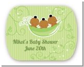 Triplets Three Peas in a Pod African American - Personalized Baby Shower Rounded Corner Stickers