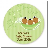 Triplets Three Peas in a Pod African American - Round Personalized Baby Shower Sticker Labels