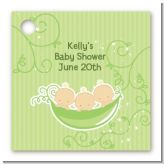 Triplets Three Peas in a Pod Caucasian - Personalized Baby Shower Card Stock Favor Tags