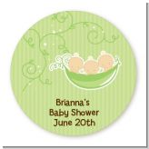 Triplets Three Peas in a Pod Caucasian - Round Personalized Baby Shower Sticker Labels