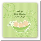 Triplets Three Peas in a Pod Caucasian - Square Personalized Baby Shower Sticker Labels