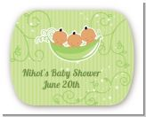 Triplets Three Peas in a Pod Hispanic - Personalized Baby Shower Rounded Corner Stickers