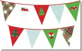 Vintage Red Truck With Tree - Christmas Themed Pennant Set