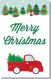 Vintage Red Truck With Tree - Personalized Christmas Wall Art
