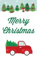 Vintage Red Truck With Tree - Personalized Christmas Wall Art thumbnail