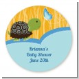 Baby Turtle Blue - Round Personalized Baby Shower Sticker Labels thumbnail