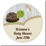 Baby Turtle Neutral - Round Personalized Baby Shower Sticker Labels