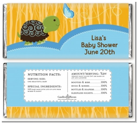 Baby Turtle Blue - Personalized Baby Shower Candy Bar Wrappers