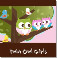 Owl Twin Girls Baby Shower Theme