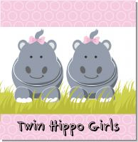 Twin Hippo Girls Baby Shower Theme